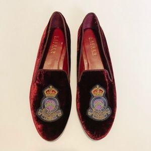 Ralph Lauren Signature Crest Nala Velvet Loafers